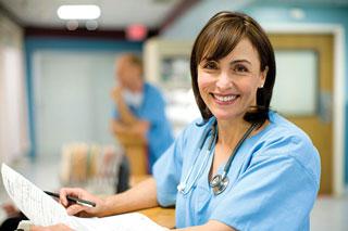 nurse at station