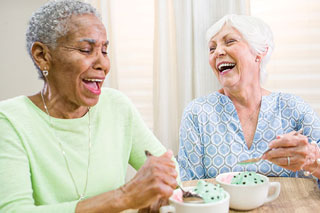 seniors eating ice cream